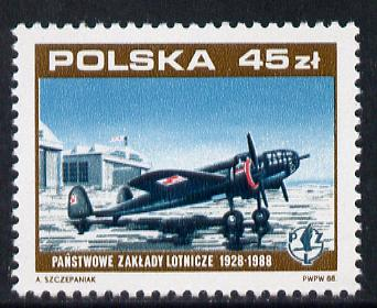 Poland 1988 Aircraft Works (PZL P37 Los) unmounted mint SG 3171