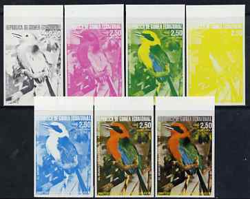 Equatorial Guinea 1974 Australian Birds 2P50 Momoto Becirrojo Bird, the set of 7 imperf progressive proofs comprising the 4 individual colours, plus 2, 3 and all 4-colour composites, superb unmounted mint, Mi 488