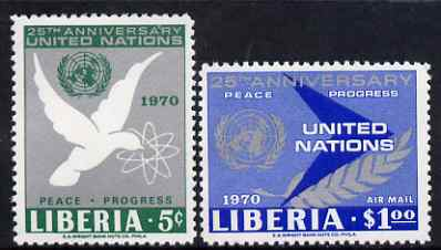 Liberia 1970 25th Anniversary of United Nations perf set of 2 unmounted mint, SG 1018-19