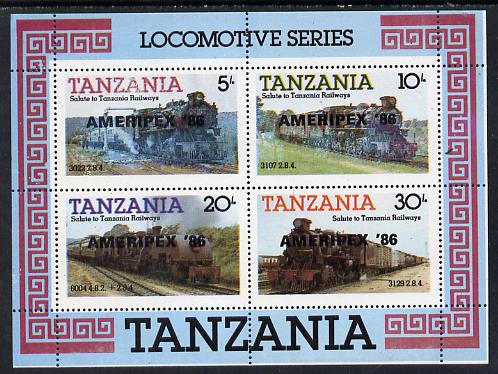 Tanzania 1986 Railways m/sheet (as SG MS 434) overprinted 'AMERIPEX '86' in black unmounted mint