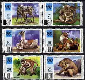 Liberia 1971 UNICEF - Animals & Their Young perf set of 6 unmounted mint, SG 1083-88