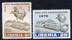 Liberia 1970 New UPU Headquarters perf set of 2 unmounted mint SG 1032-33