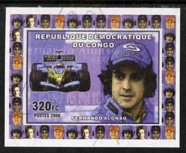 Congo 2006 Formula 1 Drivers #1 Fernado Alonso imperf sheetlet cto used