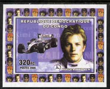 Congo 2006 Formula 1 Drivers #4 Kimi Raikkonen imperf sheetlet cto used