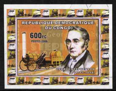 Congo 2006 George Stephenson #1 with Rocket imperf sheetlet cto used