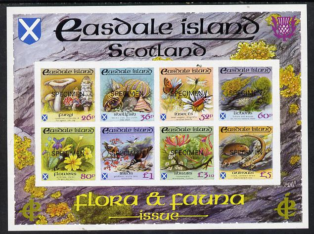 Easdale 1988 Flora & Fauna definitive imperf sheetlet containing complete set of 8 values (26p to ) each overprinted SPECIMEN unmounted mint