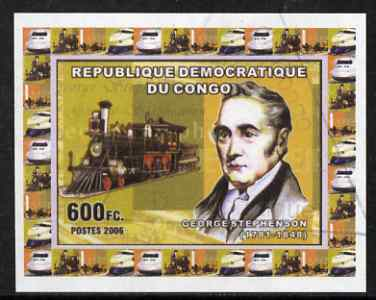 Congo 2006 George Stephenson #2 with early US Loco imperf sheetlet cto used