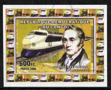 Congo 2006 George Stephenson #4 with Japanese Bullet Train imperf sheetlet cto used