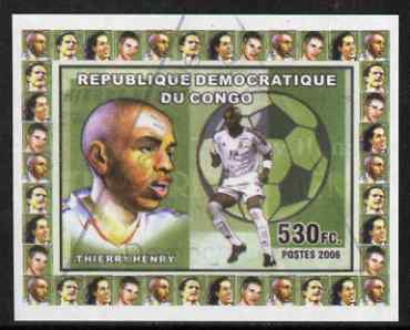 Congo 2006 Footballers #1 Thierry Henry imperf sheetlet cto used