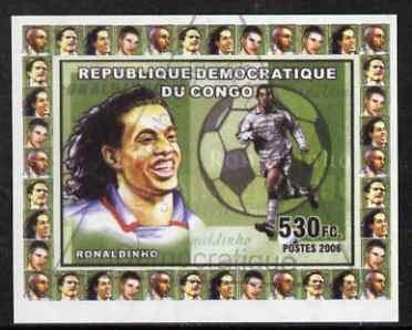 Congo 2006 Footballers #4 Ronaldinho imperf sheetlet cto used