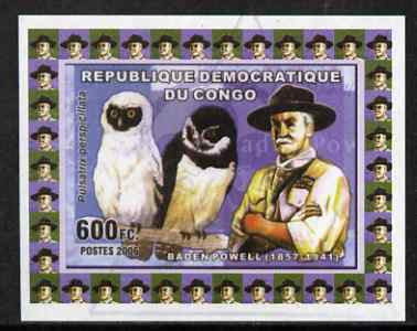 Congo 2006 Baden Powell #2 with Spectacled Owl imperf sheetlet cto used