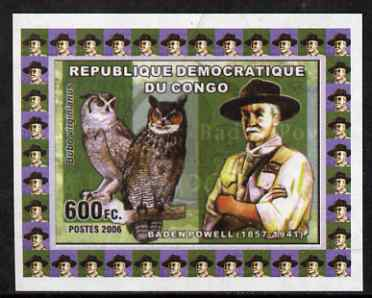 Congo 2006 Baden Powell #3 with Great Horned Owl imperf sheetlet cto used