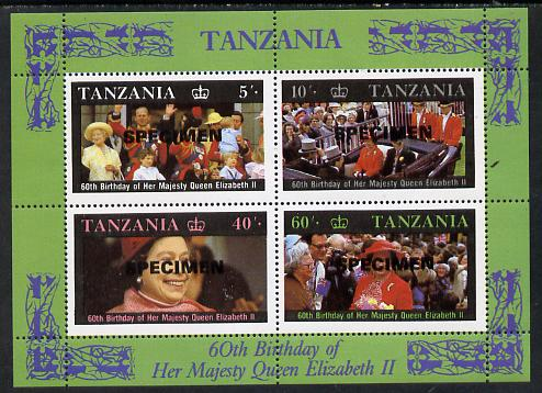 Tanzania 1987 Queen's 60th Birthday perf m/sheet opt'd SPECIMEN (as SG MS 521) unmounted mint, stamps on royalty     60th birthday