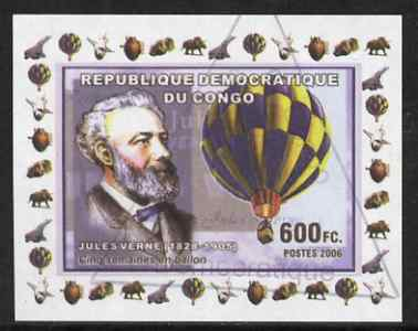 Congo 2006 Jules Verne #4 with Balloon imperf sheetlet cto used (Space Shuttle, Minerals, Concorde & Dinosaur in margin)