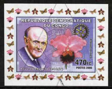 Congo 2006 Paul Harris #1 with Laeliocattleya Orchid imperf sheetlet cto used