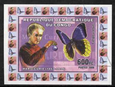 Congo 2006 Marie Curie with Caligo uranus Butterfly imperf sheetlet cto used