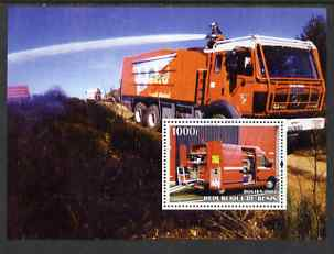 Benin 2004 Fire Engines #3 perf m/sheet fine cto used, stamps on fire