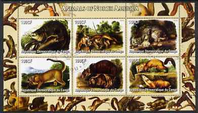 Congo 2005 Audubon Animals of North America perf sheetlet containing 6 values fine cto used