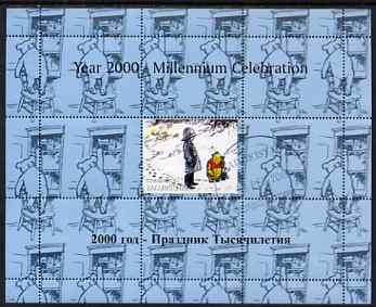 Tadjikistan 1999 Winnie the Pooh perf sheetlet #6 containing 1 stamp & 8 labels (blue background colour), unmounted mint