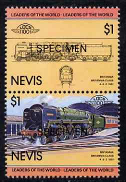 Nevis 1983 Locomotives #1 (Leaders of the World) Britannia $1 perf se-tenant pair overprinted SPECIMEN, unmounted mint as SG 144a