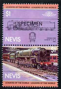 Nevis 1983 Locomotives #1 (Leaders of the World) Evening Star $1 perf se-tenant pair overprinted SPECIMEN, unmounted mint as SG 134a