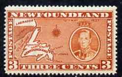 Newfoundland 1937 KG6 Coronation Map 3c die I (line perf 13.5 from 'long' KG6 Coronation set) unmounted mint, SG 258c