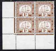 Hong Kong 1923-56 Postage Due 1c brown on chalky paper (Post Office Scales) unmounted mint corner block of 4 SG D1ab