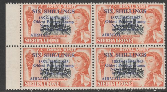 Sierra Leone 1963 Postal Commemoration 6s on 6d (House of Representatives) marginal block of 4, one stamp with 'asterisks' variety, unmounted mint SG 283b