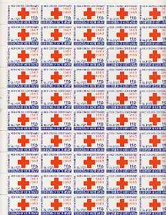 South Arabian Federation 1965 Red Cross perf set of 2 in complete (folded) sheets of 50 unmounted mint, SG 154-7