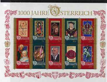 Austria 1996 Millenary of Otto III Charter in sheetlet of 10 unmounted mint, SG 2435a