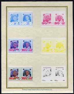 Tuvalu - Vaitupu 1985 Life & Times of HM Queen Mother (Leaders of the World) 65c set of 7 imperf progressive proof pairs comprising the 4 individual colours plus 2, 3 and all 4 colour composites mounted on special Format International cards (7 se-tenant proof pairs)