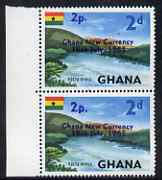 Ghana 1965 New Currency 2p on 2d Volta River marginal pair, one stamp with variety Large 2p R3/1, unmounted mint