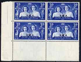 South West Africa 1947 KG6 Royal Visit 3d corner block of 4 including one stamp with 'Blinded Princess' variety, unmounted mint, SG 136var