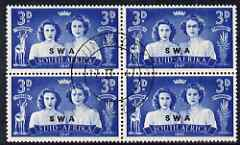 South West Africa 1947 KG6 Royal Visit 3d block of 4 including one stamp with 'Blinded Princess' variety, very fine cds used, SG 136var