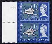 Solomon Islands 1965 Spider Conch 1.5d marginal pair, one stamp with 'large white flaw on finger' unmounted mint, SG114var