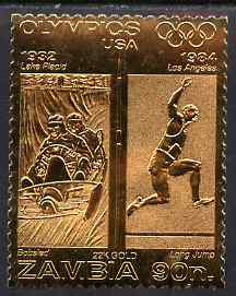 Zambia 1984 Los Angeles Olympic Games 90n perf embossed in 22k gold foil showing Bobsled & Long Jump unmounted mint