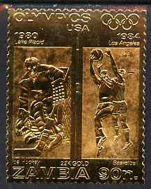 Zambia 1984 Los Angeles Olympic Games 90n perf embossed in 22k gold foil showing Ice Hockey & Basketball unmounted mint
