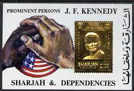 Sharjah 1972 (?) Kennedy 6r m/sheet with main design embossed in gold unmounted mint
