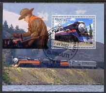 Djibouti 2007 Steam Trains #1 perf m/sheet with Scouts in background fine cto used
