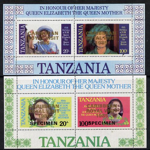 Tanzania 1985 Life & Times of HM Queen Mother perf proof set of 2 m/sheets with 'Caribbean Royal Visit 1985' opt in gold (unissued) additionally opt'd SPECIMEN unmounted mint