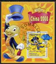 Somalia 2007 Disney - China 2008 Stamp Exhibition #01 perf m/sheet featuring Minnie Mouse & Jiminy Cricket fine cto used