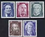 Germany - East 1975 Celebrities perf set of 5 unmounted mint, SG E1740-44