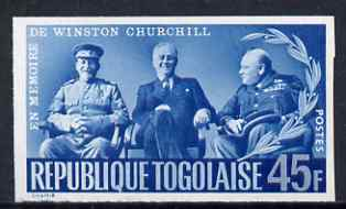 Togo 1965 Churchill Commemoration 45f blue (With Stalin & Roosevelt at Teheran) imperf, unmounted mint as SG 426