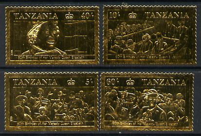 Tanzania 1987 Queen's 60th Birthday perf set of 4 values embossed in 22k gold foil unmounted mint (as SG 517-20)
