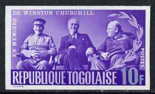 Togo 1965 Churchill Commemoration 10f violet & blue (With Stalin & Roosevelt at Teheran) imperf, unmounted mint as SG 424