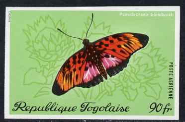 Togo 1970 Butterflies 90f Pseudacraea boisduvali imperf from limited printing unmounted mint but some ink offset on gummed side, as SG 769