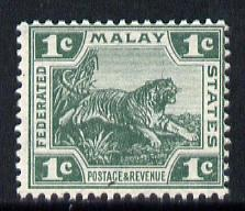 Malaya - Federated Malay States 1904 Tiger 1c green (die II) unmounted mint, SG 29