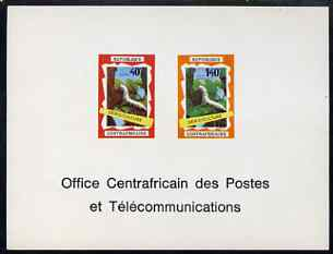 Central African Republic 1970 Operation Bokassa imperf deluxe proof card containing 40f & 140f (Silkworms) in issued colours as SG 221-2