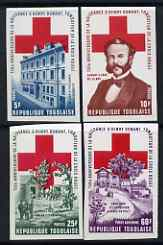 Togo 1978 Birth Anniversary of Henri Dunant (Red Cross) imperf set of 4 from limited printing, unmounted mint as SG 1309-12