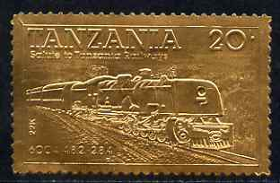 Tanzania 1985 Railways 20s (Loco 6004) embossed in 22k gold unmounted mint as SG 432